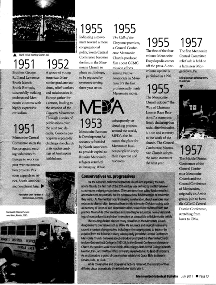 Page From Mennonite Historical Bulletin, July 2011