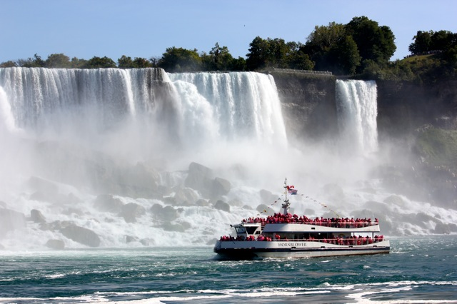 "The group enjoyed a ride on the ""Hornblower"" at the base of Niagara Falls."