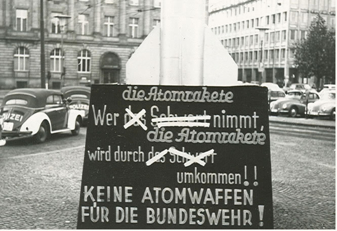 Photo of Anti-atomic weapons protest display in downtown Frankfurt,1960.
